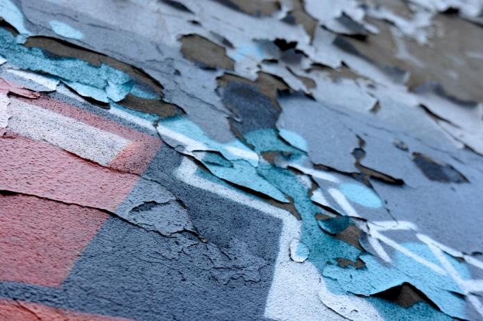 Textured graffiti wall
