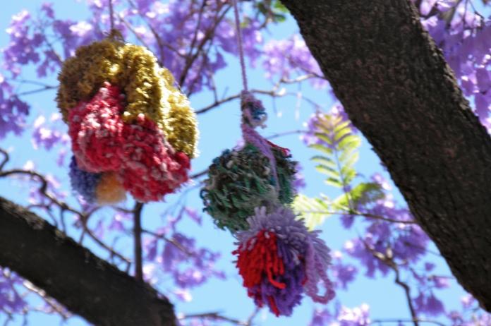 yarn bombing adelaide pom poms