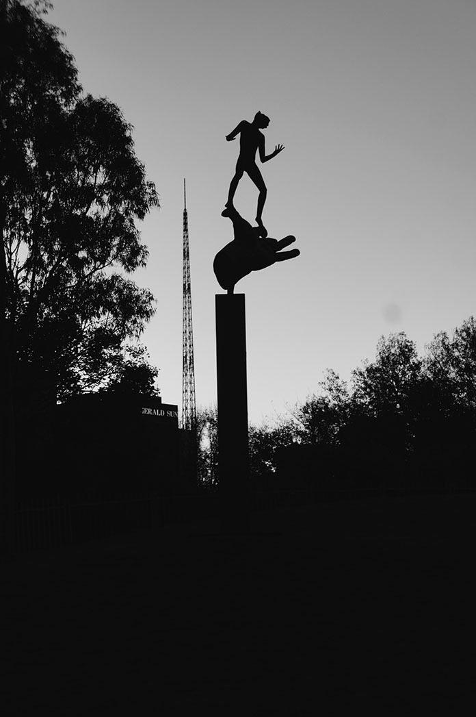Melbourne sculpture black and white