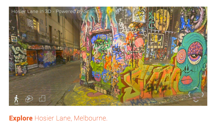 Screenshot of 3D Hosier Lane tour by Scann3D, Melbourne